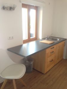 Single room 1 located on the 1st floor of the Morgnersacherl, view on the single kitchen